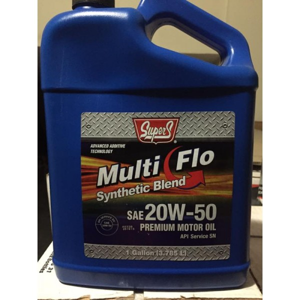 Super S Engine Oil 20W50 ٍSemi Synthetic API SN. Gallon 3.78 Litre. made in USA. Change at 7000 KM